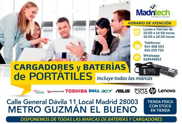 618546663 madritech cambio de baterias y cargadores para portatiles en guzman el bueno