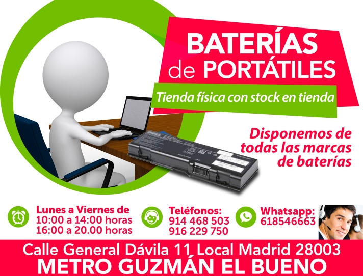 916 229 750 baterias nuevas para portatiles en madritech
