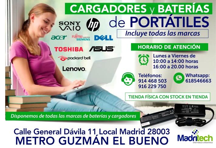 916 229 750 baterias y cargadores nuevas para portatiles en todas las marcas en madrid