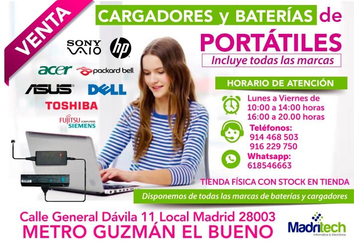 916 229 750 baterias y cargadores nuevas para portatiles en todas las marcas