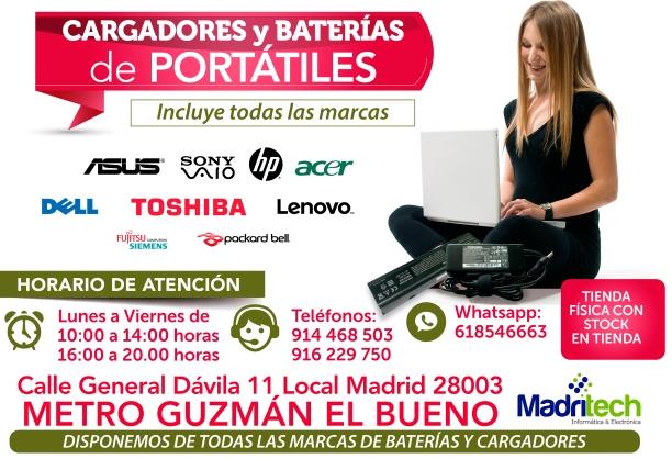 916 229 750 cargadores y baterias con garantia para portatiles en madritech