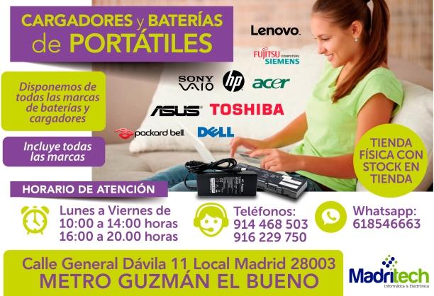 916 229 750 cargadores y baterias nuevos para portatiles en madritech