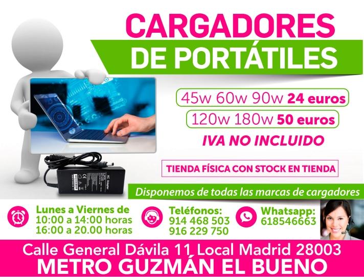 916 229 750 garantia en calidad de cargadores para portatiles en madrid