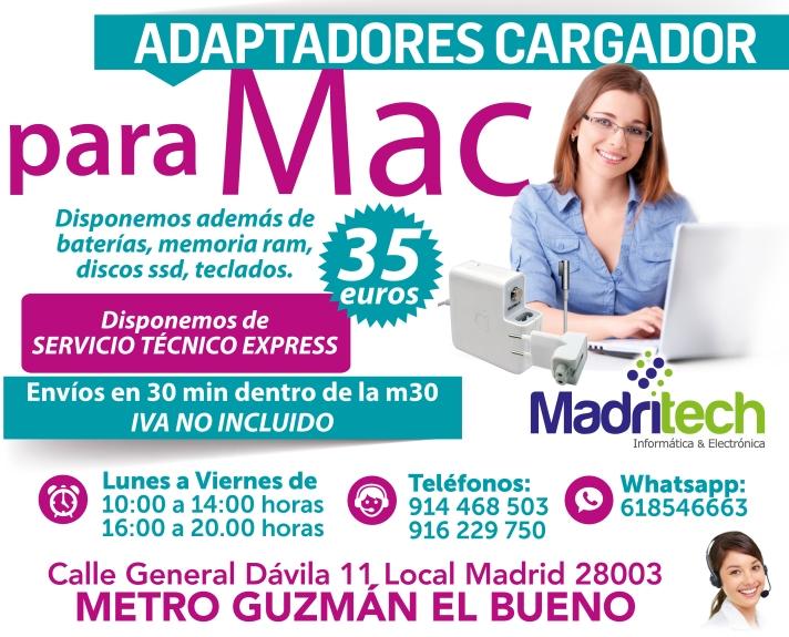 adaptadores cargador para mac en madrid