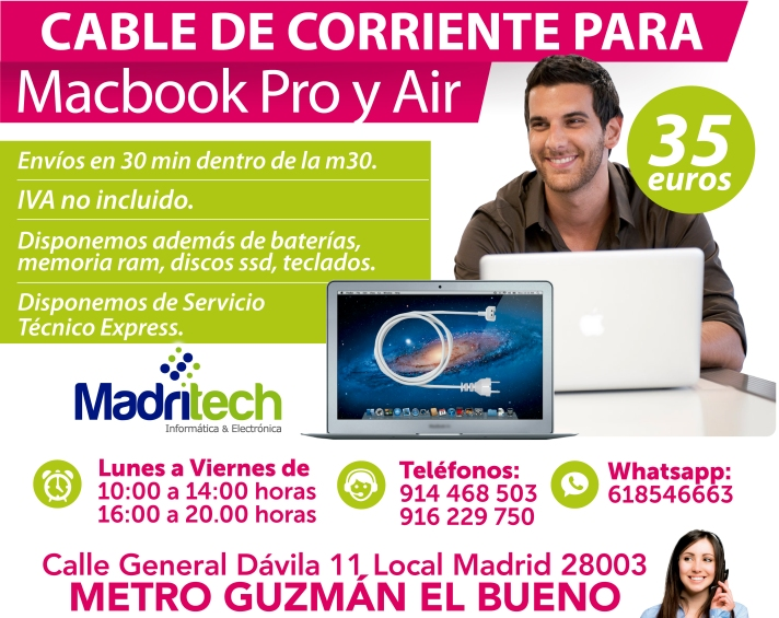 cable de corriente para macbook pro y air en madrid