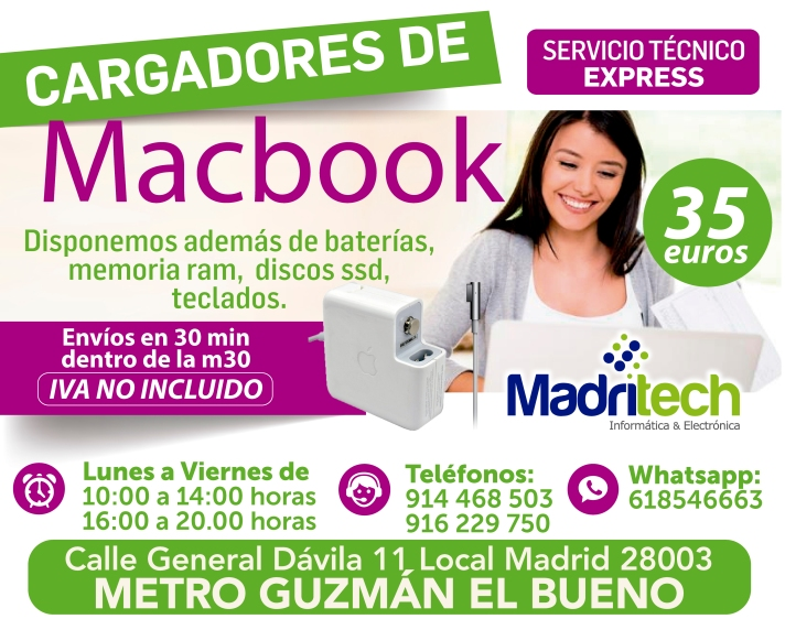 cargador de macbook madritech