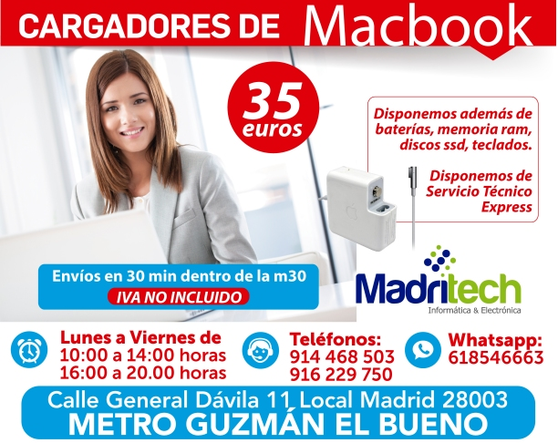 cargadores de macbook madritech