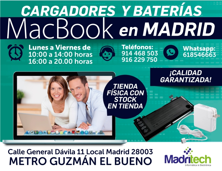 cargadores y baterias macbook en madrid