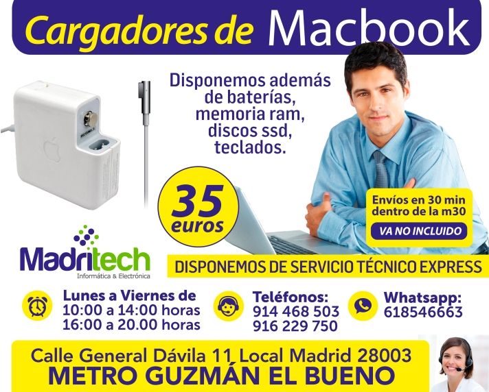 venta cargadores macbook en madrid