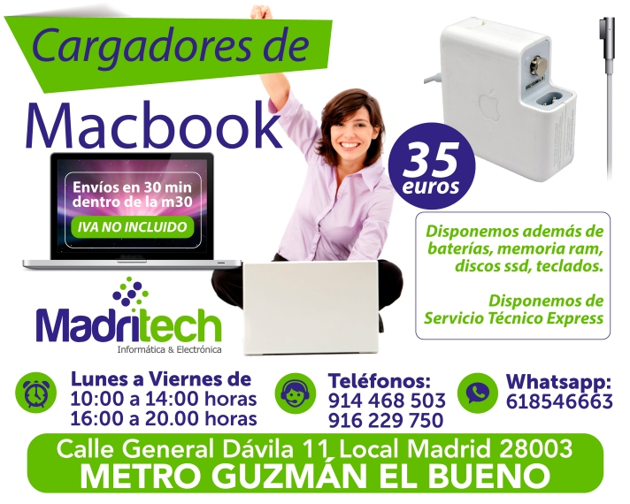 venta cargadores macbook
