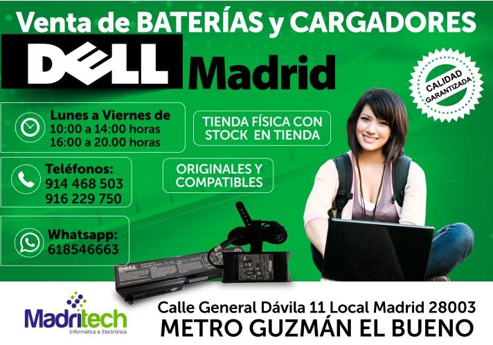 venta cargadores y baterias DELL madrid