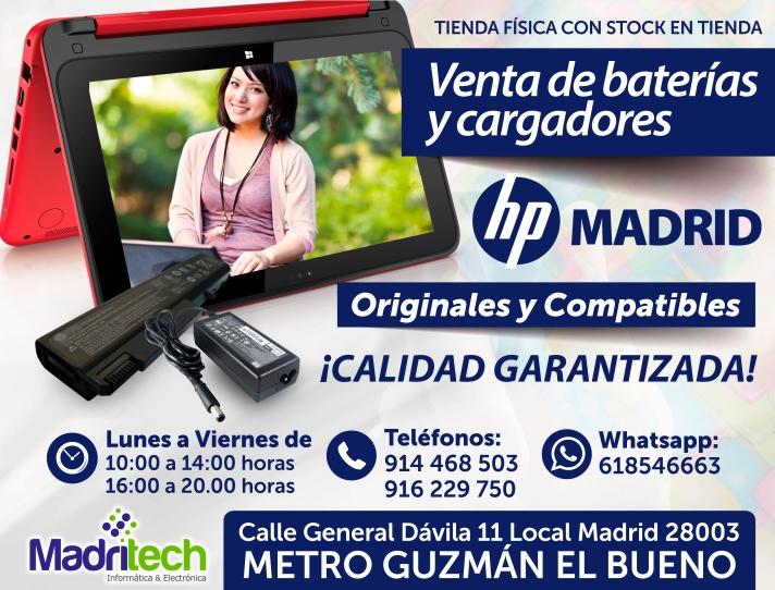 venta cargadores y baterias HP madrid